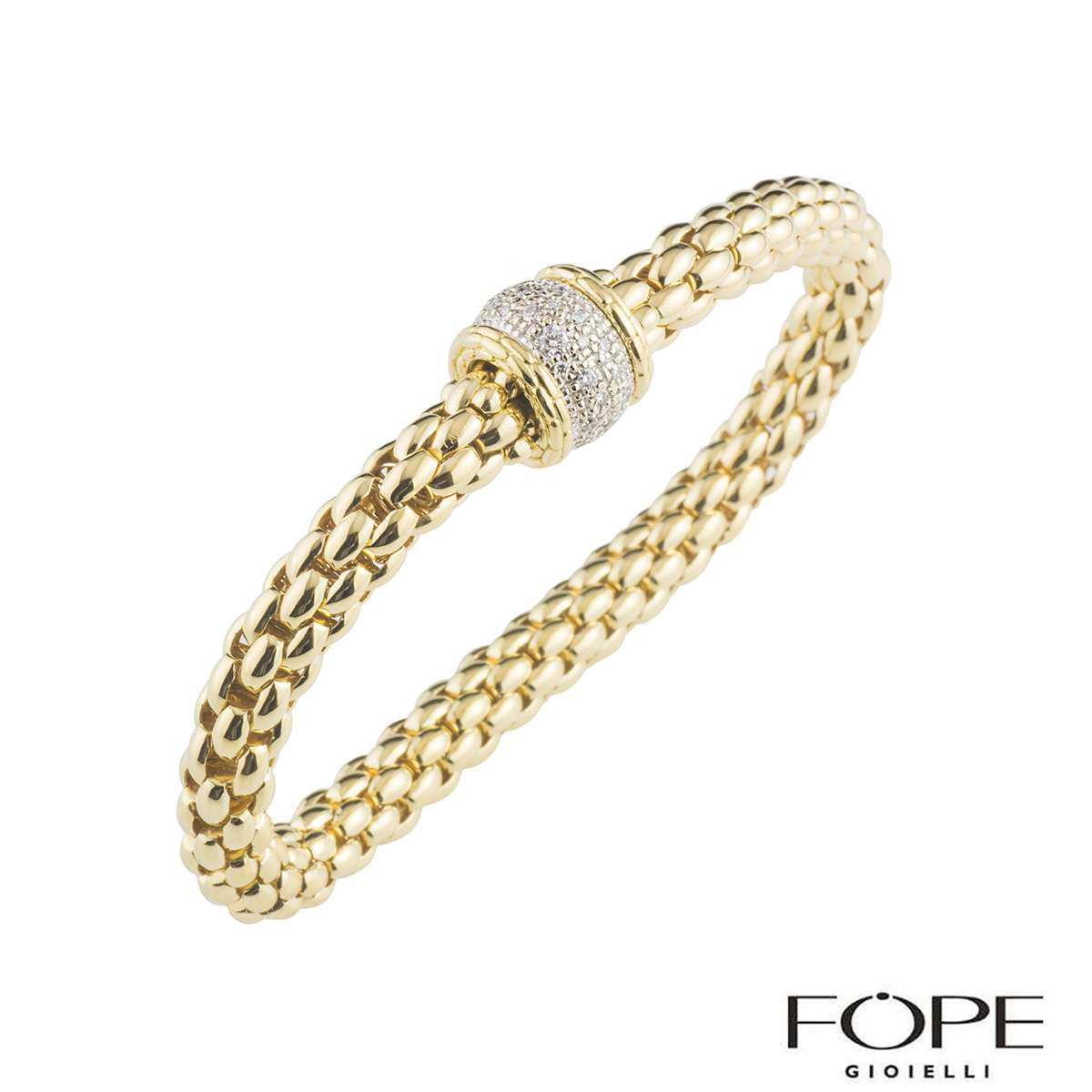 Fope Flex It Yellow Gold Diamond Bracelet